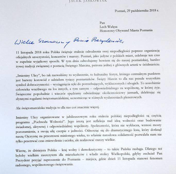 J.Jaśkowiak zaprasza byłych prezydentów RP