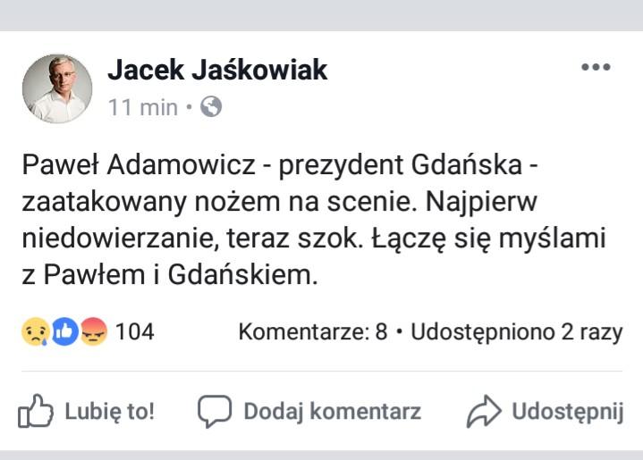 Tragedia w Gdańsku. Prezydent Jaśkowiak pisze, że to szok.