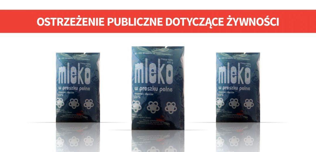 Mleko w proszku produkowane w Wielkopolsce z salmonellą